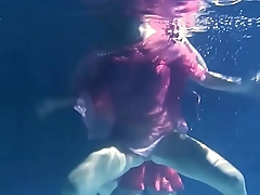 Two hot lesbians underwater touching each-other. Young girls schoolgirls are naked in the pool. Young nudists ..