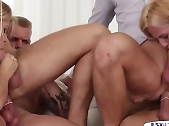 Orgy loving stud assfucked while pussylicking