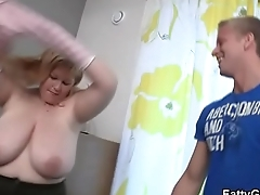 Horny fatty seduces an young guy
