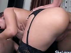 Stockinged babe spitroasted in threeway