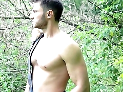 Cute shirtless guy in scottish kilt playing with cock after hard work