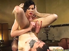 TS dom lets sub out of cage for anal fucking