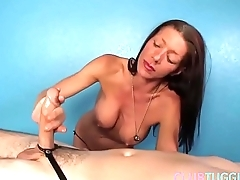 Mature masseuse tugging lucky clients cock