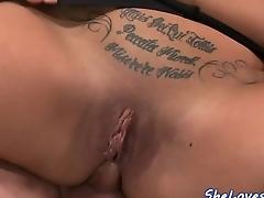 Double penetrated babe loves taste of cum