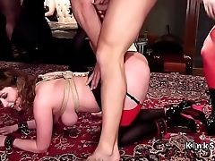 Ass whipping and anal fucking orgy party