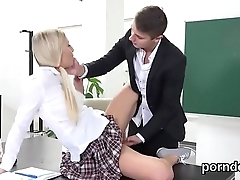 Nice college girl is teased and screwed by her senior teacher