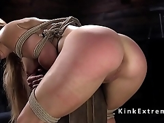 Tied up blonde gets red ass whipping