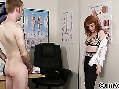 Horny looker gets cumshot on her face gulping all the load