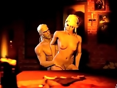 3d blonde wife fucked hard in her house