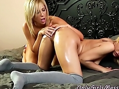 Busty milf pussylicked by horny masseuse