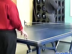 Office stud ass fucked in trio at work