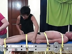 Asian Boy Lorenzo Bound and Tickled